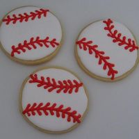 Baseballs.jpg   Baseball cookies for the first game of the year. Sugar cookies with royal icing.