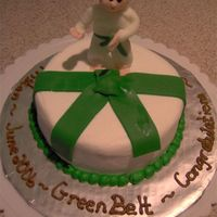 "Green Belt Taekwon Do I made this cake for my 5 year old nephew for getting is green belt in TaeKwon Do. It is a 6"" chocolate cake with buttercream icing...."