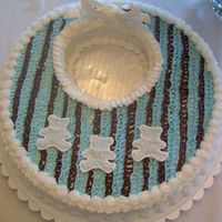 Baby Shower Cake My take on Collette Peter's Baby Shower Cake. The invitations for the shower were blue and brown, so I used that color scheme on the...