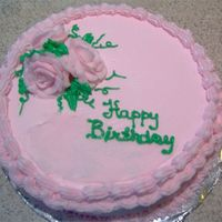 Pink Birthday Cake With Pink Roses This is my 2nd cake I made since starting my Wilton Classes. I tried my hand at the roses and I think they turned out O.K. for my first...