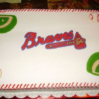 Braves Cake This was for a co-workers son's little league team, it was for their team party.White cake with buttercream frosting.