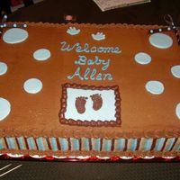 Stripped Cake Chocolate buttercream frosting with mmf circles. The invitations for the shower had browns and blues on them, so I made some different...