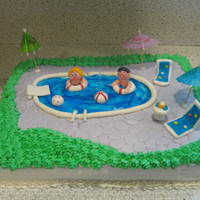Pool Party Themes Cake This was an inspiration from another cc member on here. I was asked to make a cake for a pool party and it was also the husband and wifes...
