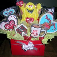 Valentine Cookie Bouquet Sugar cookie, royal icing decorations. All the cookies have a special meaning to the customer.