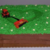 Tractor_Heart.jpg Grooms cake, wanted to look like a hunk of sod. Groom was a landscaper and did a lot of moving. Dark chocolate cake, chocolate BC with BC...