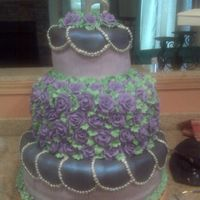 Sil's Wedding Cake: Purple And Silver This is the wedding cake for my sister-in-law's wedding. She wanted purple and silver. The cake is all white with white BC filling (...