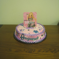 Hanna Montana- Disco Fondant decorations, Rainbow dust. I print out a picture and glue it to a cardboard then glue a 2 straw or a lolipop stick in the back to...
