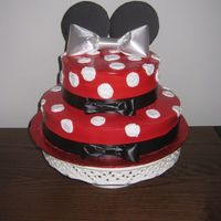Minnie #1 Italian meringue, floral satin lace for the bows and around it, black cardboard ears