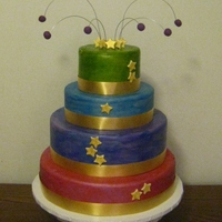 Hollywood Style balls are fondant, as well the stars. Floral Ribbon around the cake.