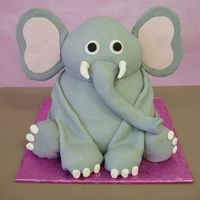 Elephant all cake except for the ears they are foam board covered in fondant. It was a cake for someone who is obsessed with Ace of Cakes and her...