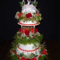 Christmas Weddding   white cake, vanilla frosting, real flowers,