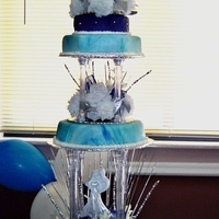 Cat's Wed Cake Univeristy of Kentucky theme wedding. the blues in the cake are all the blues used in the wedding deco. vanilla cake, vanilla buttercreme,...