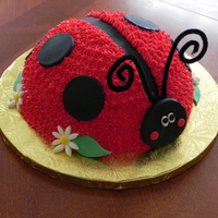Ladybug This was done with the soccer ball pan. Buttercream with fondant accents.
