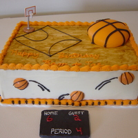Basketball Cake   buttercream cake w/ fondant scoreboard and basketballs