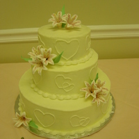 Stargazer Lilly Wedding Cake wedding cake w/ buttercream frosting and gumpaste flowers