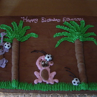 Monkey Soccer Cake all decorations are buttercream