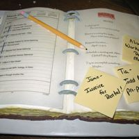 Date Book This cake was done for an office party pot luck lunch! Gumpaste pencil and binder rings, fondant sticky notes, printed on rice paper.