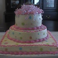 Poka Dot Baby Shower Cake This was made for a baby shower, it went with the decorations of all Poka Dots! All buttercream, bottom layer yellow, middle-marble, and...