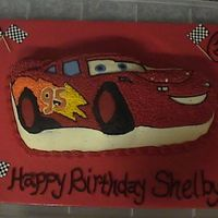 Mcqueen Car Cake McQueen Lightning cake for a little girls birthday. All buttercream, done with a Wilton Pan. Thank you for looking! Have a great day!