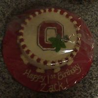 Ohio State Smash Cake Here is a smash cake for a one year old. His Daddy loves Ohio State and wanted him to have a cake like that! LOL! ~chocolate cake, all...