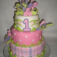 Girlie Cake! Designed this cake to coordinate with the partyware. I loved cakesbyallison's bows and tried to repicate it here but...oh well....