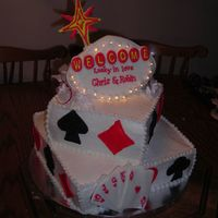 Vegas Wedding Cake A Vegas wedding cake with a cake top personalized with the bride and groom's names in lights!