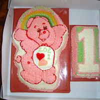 Care Bear Birthday cake for my great niece first birthday. butter cake and butter cream.