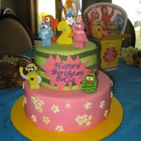 Yo Gabba Gabba Fondant with gumpaste stars and number, plastic figurines. I wish I got a better picture of this cake!