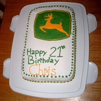 John Deere  Cake I did for my b-i-l's birthday a couple years ago. I messed up on the number. LOL He turned 22 not 21. I fixed it when I realized...