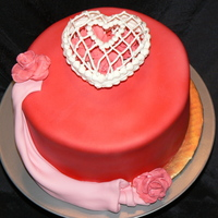 Valentine Birthday Fondant rose, drape and Royal heart shaped jewel box holding 3 fondant roses