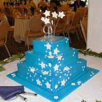 Blue W/ Stars Inspired by a tiered cake from icemaidencakes.comMarble w/ whipped cream icing