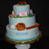 "16Th Birthday ""what I Love"" Girl loves softball, horses and riding her quad. Tried to incorporate all of it."