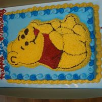 "Winnie The Pooh An 11x15 sheet cake frosted in buttercream topped with a very thin character cake of Winnie the Pooh. Also made a smash ""Hunny Pot&..."