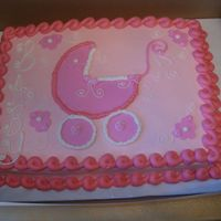 Pink Baby Carriage A 11x15 sheet filled and frosted in buttercream. MMF Baby carriage and flowers. Got ideas from people on this site.