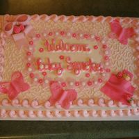 Baby Girl Butterfly Shower This as a 12x18 sheet cake frosted in buttercream with MMF butterflies, baby and flowers. Not what I had in mind for the butterflies, I...