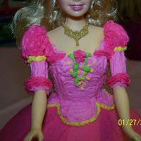 Princess Genevieve Cake 2   A detail shot of my daughters Barbie in the 12 Dancing Princesses cake. She was in love at first sight!!