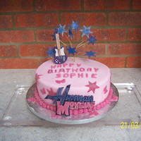 Hanna Montanna Bithday cake for a girl who is crazy about Hanna Montanna. Gumpaste guitar and stars
