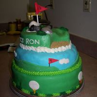 Retirement Cake- Golf Course Got my inspiration from several cakes on here as well as magazine (for top layer) All layers were different cake/filling/icing, covered in...