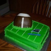 Football/field...   The football is chocolate pound cake, the field is french vanilla , all iced in buttercream icing, with fondant details.