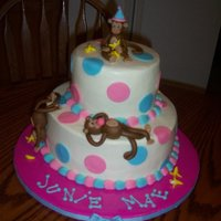 Monkey Polka Dots  This cake was for a little girls 2nd B/dayThe top cake is strawberry, the bottom is chocolate swirl,iced in butter cream icing. The Monkeys...