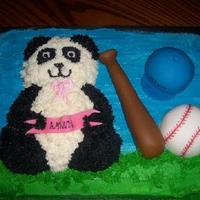 Panda/baseball Cake  This cake was done for a boy and girls B/day, she likes Panda Bears and he likes Baseball, so incorporated both themes into one cake as...