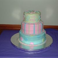 Sweet 16 Birthday Party Cake I made this cake for a young woman's sweet 16 birthday party. Her only request was that the cake have the colors blue, pink, and green...