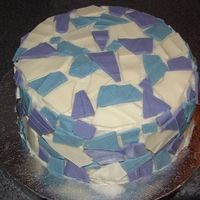 "Mosaic Tile Cake I made this cake for an auction at my church. It was a french vanilla cake with vanilla buttercream and white chocolate ""mosaic tiles&..."