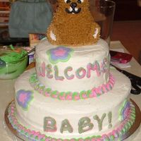 Brown Bear Baby Shower I made this cake for a friend at work to take for a baby shower for her cousin. French vanilla cake with vanilla buttercream and raspberry...