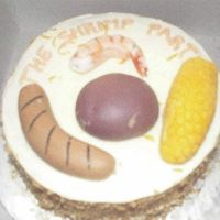 "37_Shrimp_Party.jpg  What do you do when someone asks for a cake featuring ""a shrimp, a brat, an ear of corn and a red potato""??? You make them out of..."