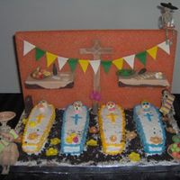 "Dia De Los Muertos (Day Of The Dead) This has to be the strangest cake request we've ever had, but it was a lot of fun to make! :)The theme was the Mexican ""Day of..."