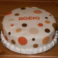 Polka Dots Simple, fondant covered cake featuring polka dot cutouts.