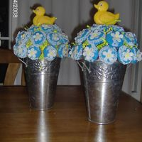 Ducky Cupcake Bouquet A cupcake bouquet I made for a baby shower. I enjoy making these fondant ones because they are more secure on the bouquet itself and you...