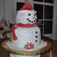 Snowman I made this last night for a person at work. I got my inspiration from a cake that was done by Kitagrl (thank you for the inspiration).