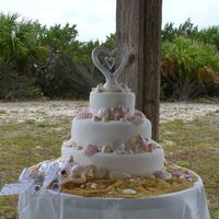 Seaside Wedding Fondant Rope border, and chocolate shells painted with orchid pink luster dust to match the color scheme.